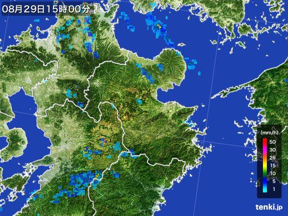 大分県の雨雲レーダー(2016年08月29日)