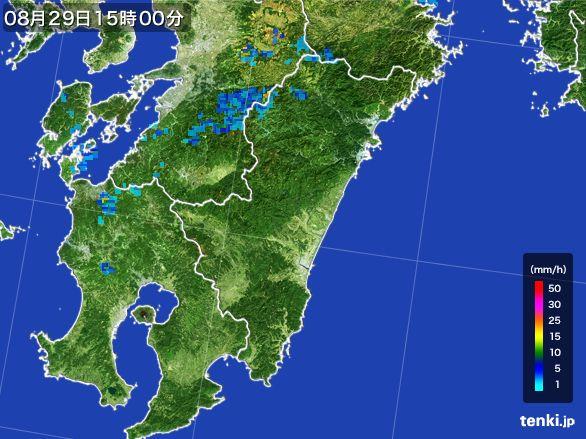 宮崎県の雨雲の動き(2016年08月29日)