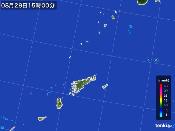 奄美諸島(鹿児島県)の雨雲レーダー(2016年08月29日)