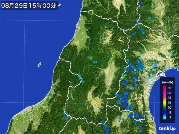 山形県の雨雲レーダー(2016年08月29日)