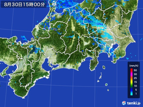 東海地方の雨雲レーダー(2016年08月30日)
