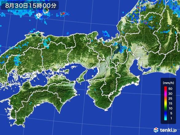 近畿地方の雨雲レーダー(2016年08月30日)