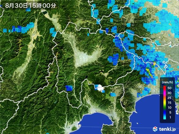山梨県の雨雲レーダー(2016年08月30日)