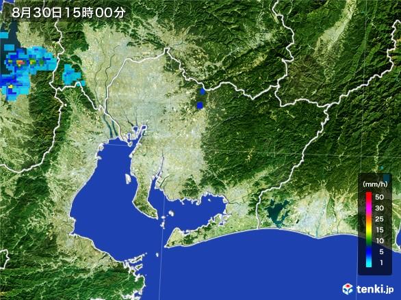 愛知県の雨雲レーダー(2016年08月30日)