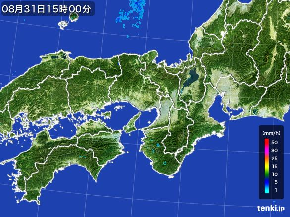 近畿地方の雨雲レーダー(2016年08月31日)