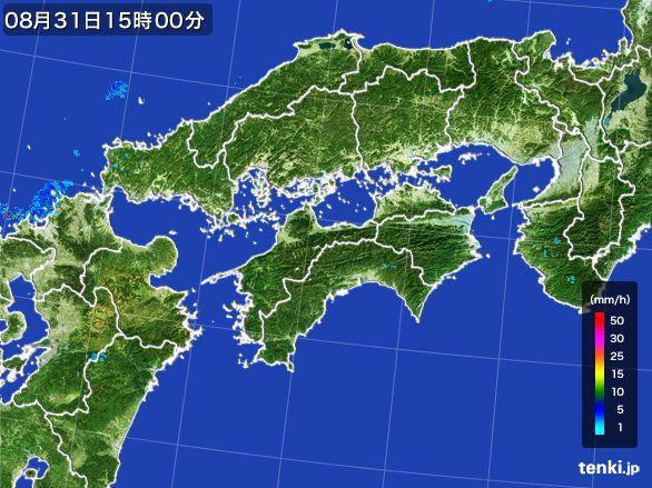 四国地方の雨雲レーダー(2016年08月31日)