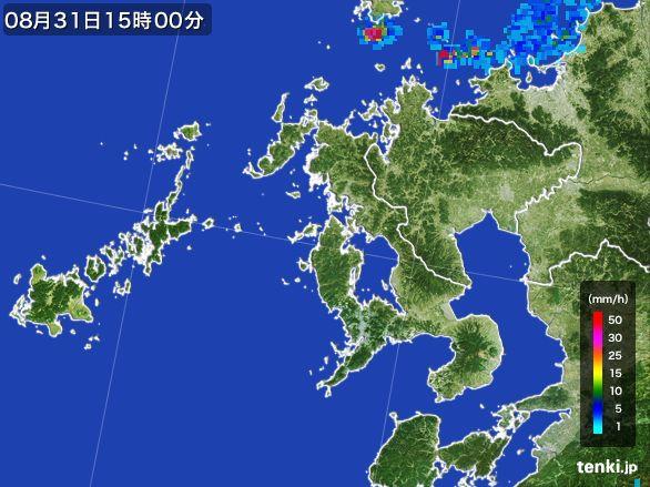 長崎県の雨雲レーダー(2016年08月31日)
