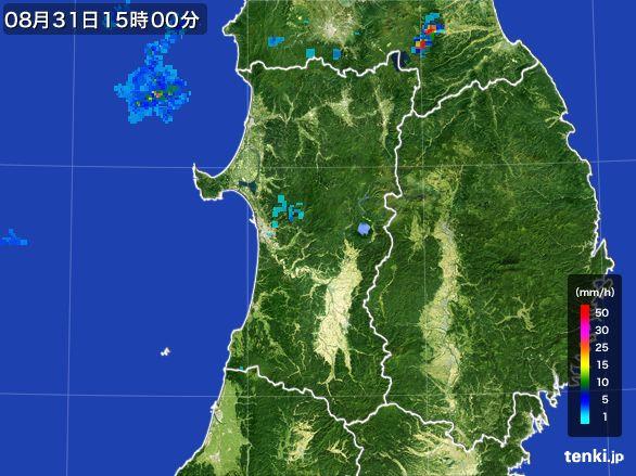 秋田県の雨雲レーダー(2016年08月31日)