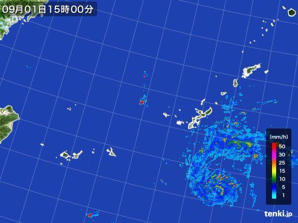 沖縄地方の雨雲レーダー(2016年09月01日)