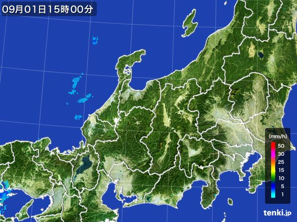 北陸地方の雨雲レーダー(2016年09月01日)