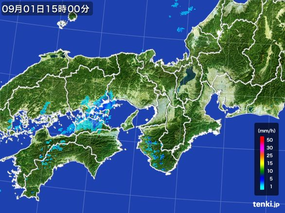 近畿地方の雨雲レーダー(2016年09月01日)
