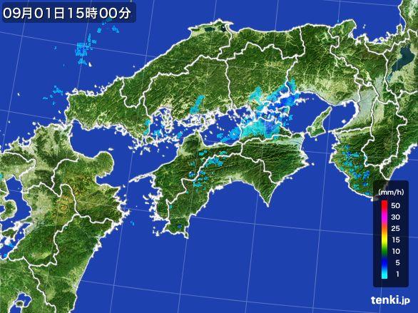 四国地方の雨雲レーダー(2016年09月01日)