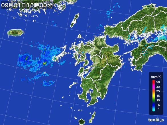 九州地方の雨雲レーダー(2016年09月01日)
