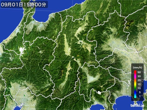 長野県の雨雲レーダー(2016年09月01日)