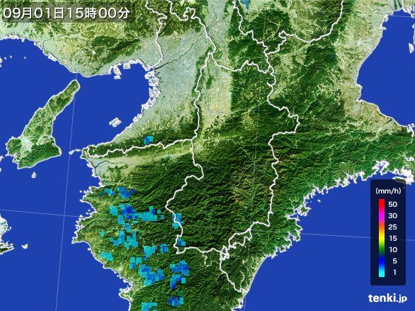 奈良県の雨雲レーダー(2016年09月01日)