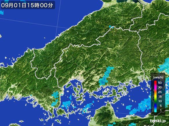 広島県の雨雲レーダー(2016年09月01日)
