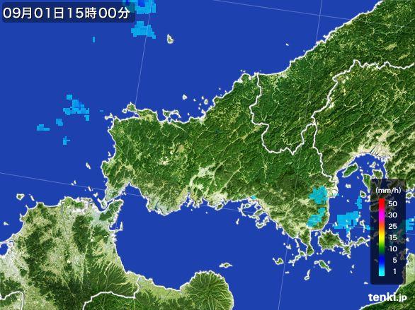 山口県の雨雲レーダー(2016年09月01日)