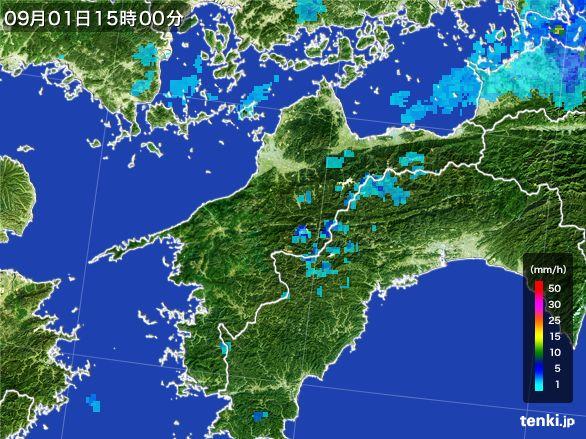 愛媛県の雨雲レーダー(2016年09月01日)