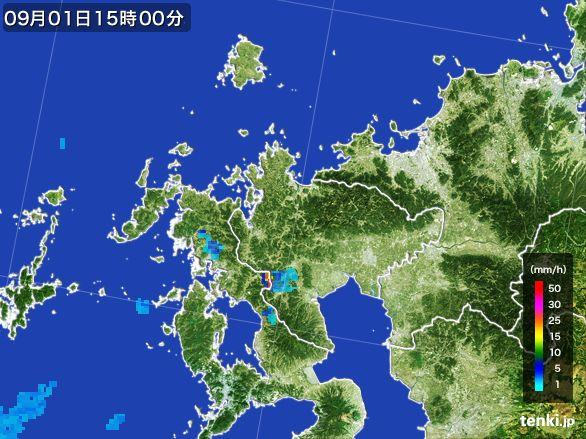 佐賀県の雨雲レーダー(2016年09月01日)