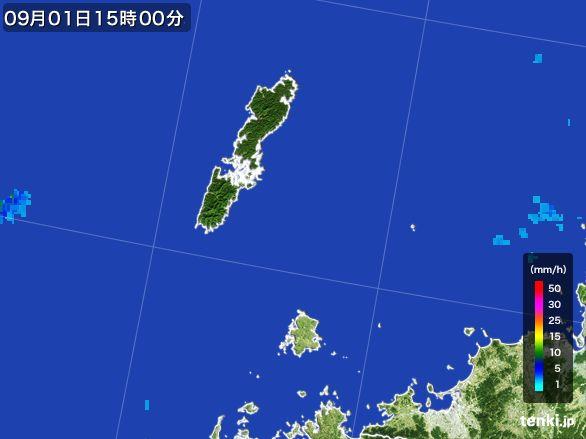 壱岐・対馬(長崎県)の雨雲レーダー(2016年09月01日)