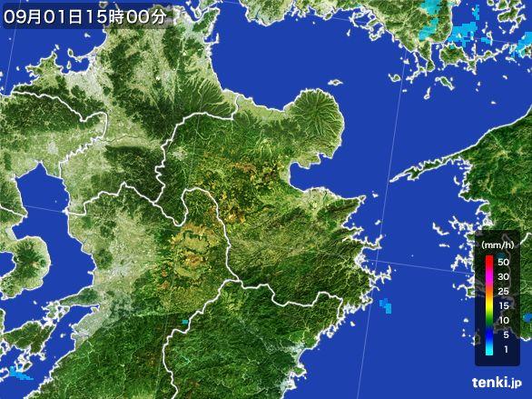 大分県の雨雲レーダー(2016年09月01日)