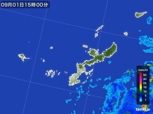 沖縄県の雨雲レーダー(2016年09月01日)