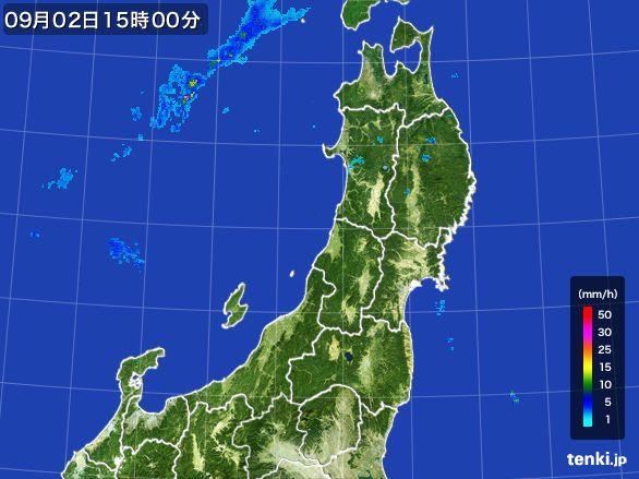 東北地方の雨雲レーダー(2016年09月02日)