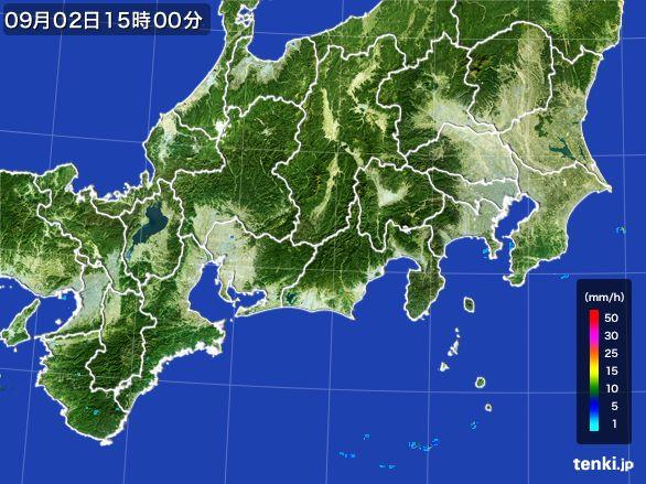 東海地方の雨雲レーダー(2016年09月02日)