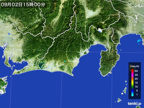 静岡県の雨雲レーダー(2016年09月02日)