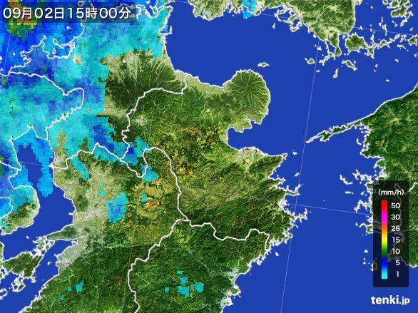 大分県の雨雲レーダー(2016年09月02日)