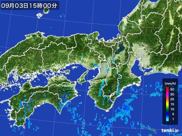 近畿地方の雨雲レーダー(2016年09月03日)