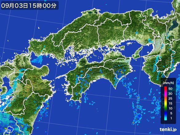 四国地方の雨雲レーダー(2016年09月03日)