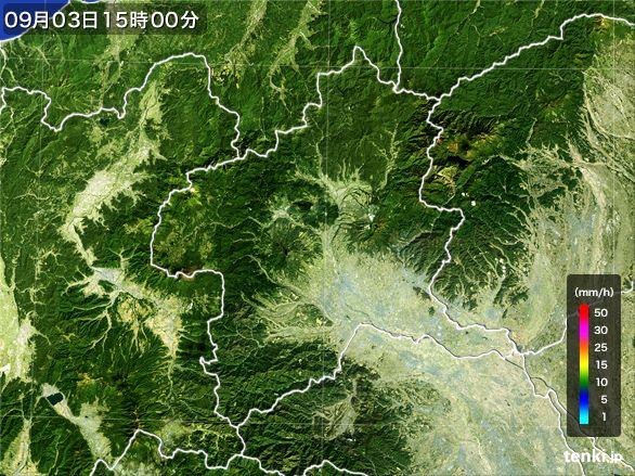 群馬県の雨雲レーダー(2016年09月03日)