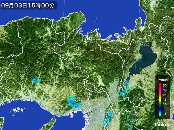 京都府の雨雲レーダー(2016年09月03日)