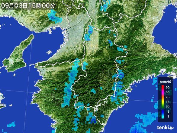 奈良県の雨雲レーダー(2016年09月03日)