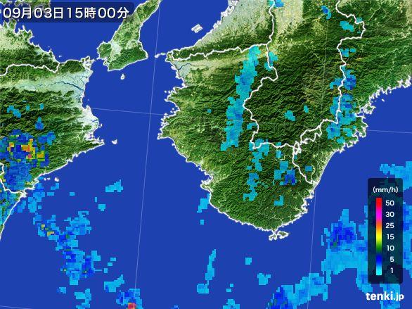 和歌山県の雨雲レーダー(2016年09月03日)