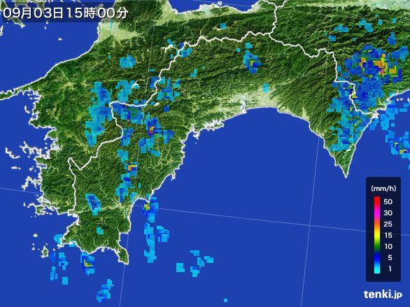高知県の雨雲レーダー(2016年09月03日)