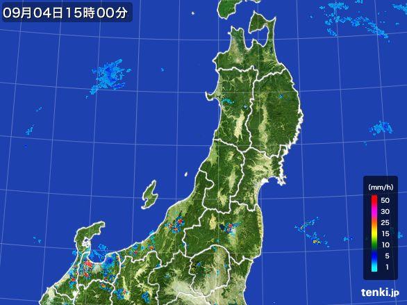 東北地方の雨雲レーダー(2016年09月04日)