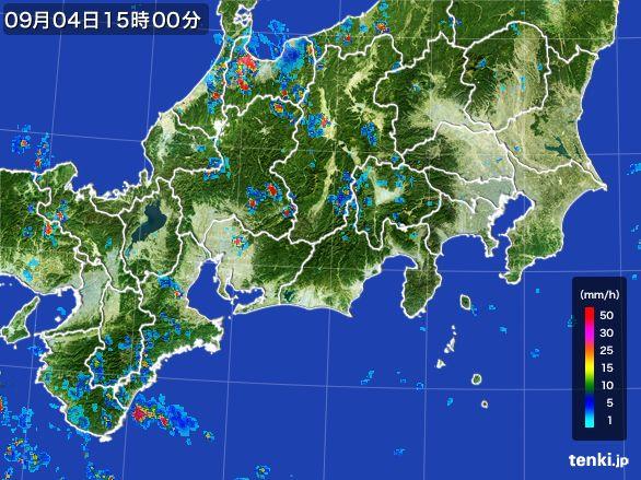 東海地方の雨雲レーダー(2016年09月04日)