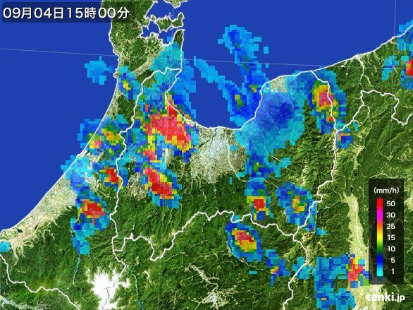 富山県の雨雲レーダー(2016年09月04日)
