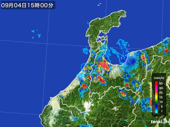石川県の雨雲レーダー(2016年09月04日)