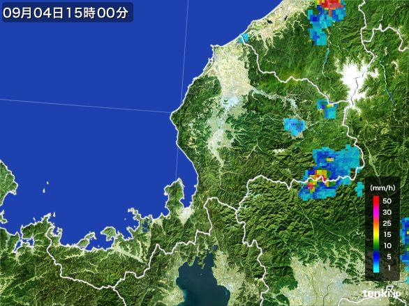 福井県の雨雲レーダー(2016年09月04日)