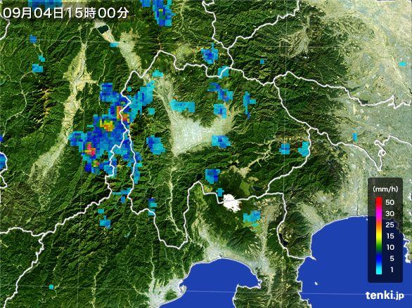 山梨県の雨雲レーダー(2016年09月04日)
