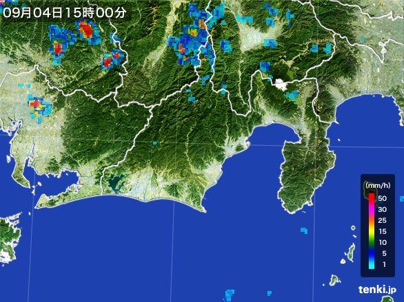 静岡県の雨雲レーダー(2016年09月04日)