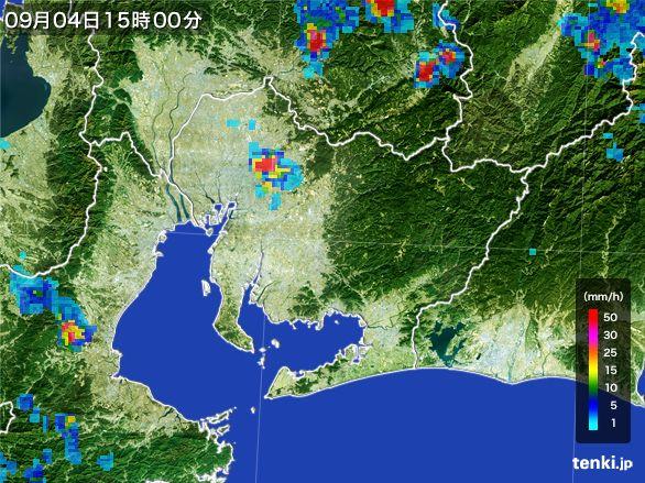 愛知県の雨雲レーダー(2016年09月04日)