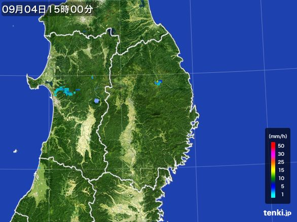 岩手県の雨雲レーダー(2016年09月04日)