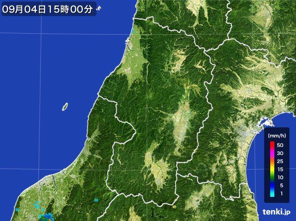 山形県の雨雲レーダー(2016年09月04日)