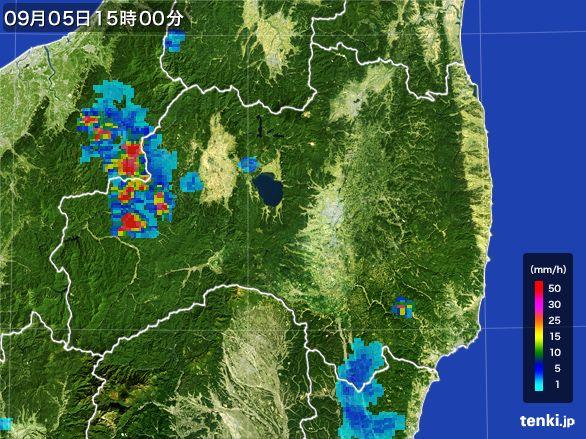 福島県の雨雲レーダー(2016年09月05日)