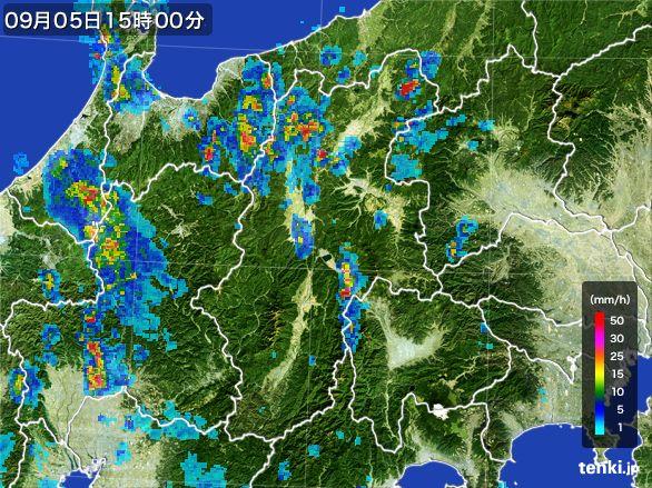 長野県の雨雲レーダー(2016年09月05日)