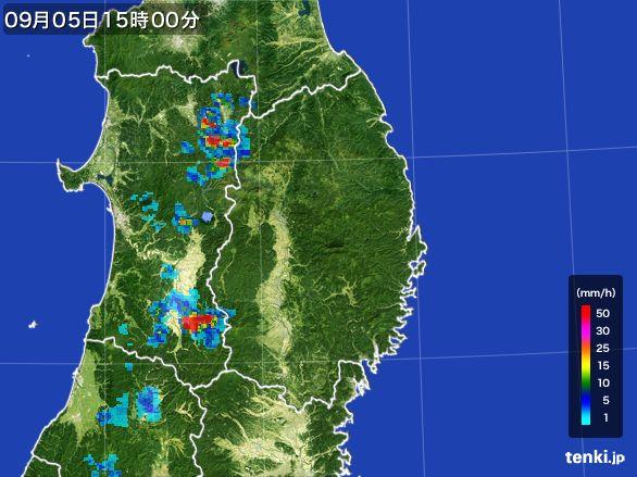 岩手県の雨雲レーダー(2016年09月05日)